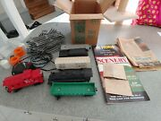 Box Of Old Lionel O27 Gauge Train Cars, Tracks, Power Supply, Misc W/warrty Card