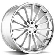 4 22 Staggered Azad Wheels Az24 Brushed Face With Chrome Ss Lip Rimsb45