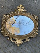 Carved Giltwood Mantle Mirror/ Antique French 19th Century