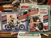 Motorcycle Garage  Twinpack X 2 Signs. Quality Tin Metal Wall Signs