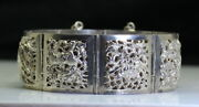 Vintage Chinese Sterling Silver Dragon And Floral Story Panel Link Bracelet 7
