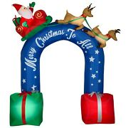 9ft Lighted Inflatable Sleigh Ride Archway Merry Christmas To All Santa Reindeer