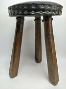 Primitive 3 Legged Milking Stool 16 Hand Made In Spain Rustic Leather Farmhouse