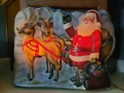 Vintage Paramount Santaandreindeers Lighted Celloid Plaque Raylite Electric Corp