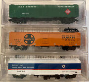 """N Scale 52' 2"""" Riveted Steel Express Reefer Lot Atsf Umta Rea Micro Trains Mtl"""