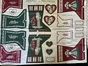 Vintage Victoriana Christmas Fabric Panel Cut And Sew Stockings Victorian Uncut