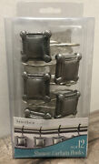 Set Of 12 Silver Square Metal Shower Curtain Hooks Antique Look-easy To Install