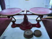 Vintage Cast Iron Scale 171 Balance R.h. Company Pa Reading Hardware Red Gold