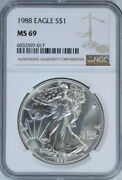 1988 Silver American Eagle Dollar / Ngc Ms69 / Free Shipping And Free Returns