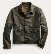 Rrl Brown Newsboy 1900s Leather Jacket Menand039s Small S Patina