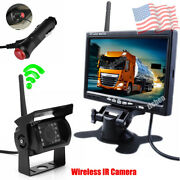 Wireless 7 Hd Monitor Back Up Rear View Camera Kit For Truck Trailer Harvester