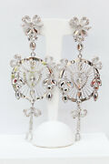 Christian Dior Lovely Silver Plated Drop Clip On Earrings With Rhinestones