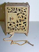 Antique 1896 Patent Cast Iron Ornate Safe Toy Size Still Bank Coin Metal W/ Key