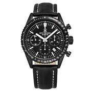 Revue Thommen Menand039s 17000.6577 Aviator Leather Strap Chronograph Automatic Watch