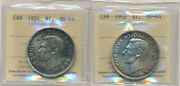 Canada Lot Of 2 Silver Dollars George Vi 1951 1952 Iccs Graded Ms-64