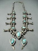 Hogan Womenand039s Vintage Navajo Turquoise Sterling Silver Squash Blossom Necklace