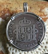Pirate Coin Treasure Piece Of Eight Pendant Authentic 2 Reales Set Ss Pendant