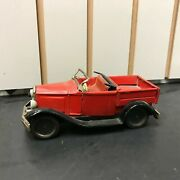 Vintage Bandai Japan Tin Litho Toy Truck Sign Of Quality Red Friction Pull Back