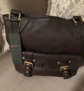 Stone Mountain Brown Pebbled Leather Classic Shoulder Bag Fabric Lined New