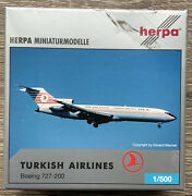 Herpa 1500 Boeing 727-200 Turkish Airlines - Extremely Rare Collectible, Mib