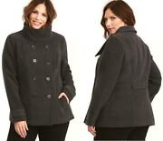 Plus Size 0x New Torrid Dark Grey Double Breasted Button Up Peacoat Pea Coat