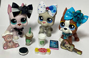 Littlest Pet Shop 1022 588 And 1688 Great Dane Puppies Dogs W/accessories