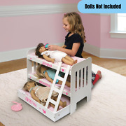 18 Baby Doll Bunk Bed Girls Pretend Play Wooden Furniture White W/ Pink Bedding
