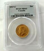 1917 C Canada Gold Coin Sovereign George V Ms-63 By Pcgs Gem