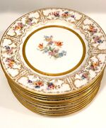 Antique Limoges William Guerin Signed Set 12 Dinner Plates Hand-painted Luxury