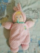 Eden Bunny Rabbit Pink Terry Cloth Quilted Plush Rattle Easter Egg Baby Toy 9