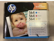 New Hp 564 Color Ink Cartridge Combo Pack Cyan Magenta Yellow + Photo Paper 2021