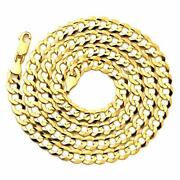 14k Yellow Gold 7mm Plain Solid Curb Cuban Necklace W/lobster Lock 18 To 30