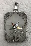 Camphor Glass Pendant, Order Of The Eastern Star, Sterling Silver