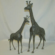 Pair Mid-century Hollywood Regency Brass Standing Giraffe Statues 22 And 17 Tall