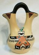 Native American Pottery Wedding Vase Hand Painted Signed Jd Kachina Bisons 10.5