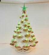 Vintage Ceramic Christmas Tree White With Gold Branch Tips