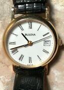 Womens Vintage Solid 14k Gold Bulova Round Watch Black Lizard Band Not Keep Time