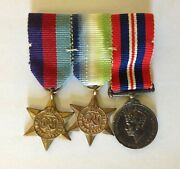 Set Of 3 Miniature Wwii Military Campaign Medals=1939-45=atlantic Star=kgvi=gri.