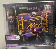 Monster High Room To Howl Bunk Bed And Dead Tired Clawdeen Wolf Playset 2011 Nib