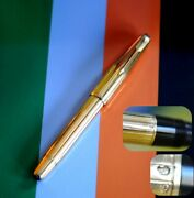 18k Solid Gold Body Nib And Clip Parker Fountain Pen , 2 Jewels