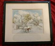 Signed Original Serigraph 1941 Guy Maccoy Old Willow Trees Blue Sky And Horses