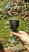 Vintage Israel Hakuli Brass Handpainted Goblet Cup With Glass Cup