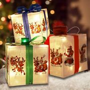 Christmas Lighted Boxes Set Of 3 Light Up 60 Led Outdoor Present Gift Box Decor
