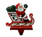 Vintage Midwest Of Cannon Falls Santa In Sleigh Cast Iron Stocking Hanger Holder