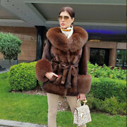 Women Real Mink Fur Coat With Fox Fur Collar And Cuff Jacket Hooded Overcoat