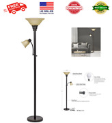 Transitional Metal Uplight Floor Lamp W Reading Light And Glass Shades 71bronze