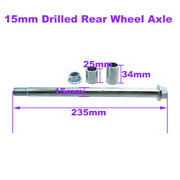15mm Drilled Rear Wheel Axle For Chinese Made Pit Dirt Bike Motorcycle Parts