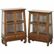 Pair Of Circa 1900 Chinese Temple Alter Style Glazed Door Bookcases Sideboards