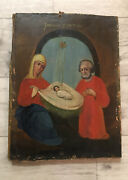 Antique Russian Hand Painted Icon Of The Nativity On Wood