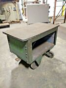 Antique Railway Rail Industrial Factory Wood And Steel Transport Cart